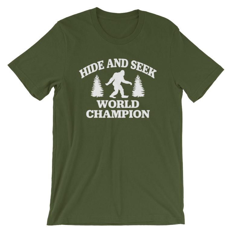 Bigfoot hide and seek champion tshirt